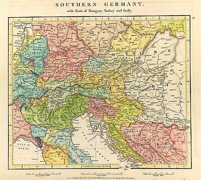 1953 Weilheim Germany Antique Map