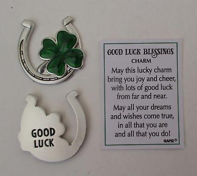 aa GOOD LUCK BLESSINGS Pocket token charm shamrock lucky Irish horseshoe Ganz