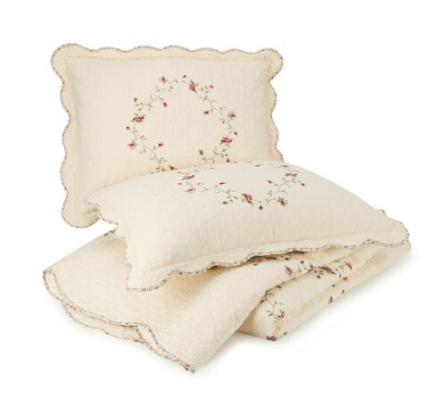 Better Homes & Gardens Hannalore Quilted Standard Pillow Shams Set Embroidered