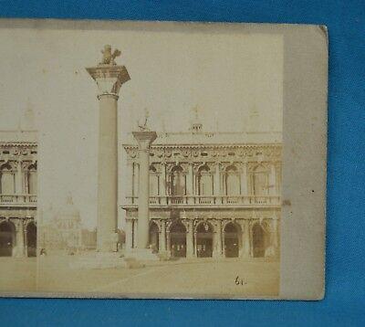 1850/60s Stereoview Photo Italy Colona Con La Salute Venice Venezia Italia