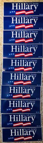 """Ten 3X9"""" Hillary (Clinton) For U.S. Senate (New York) Campaign Bumper Stickers"""