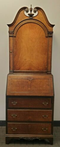 PETITE ANTIQUE WALNUT SECRETARY BOOKCASE CABINET ca1920 3-Drawers;2 Shelves; Key
