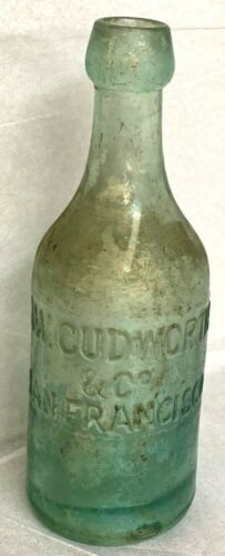 *Soda Bottle iridescent aqua A.W. CUDWORTH & CO San Francisco blob top bubbles