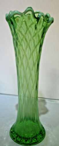 Jefferson Glass Diamond and Thumbprint Green Opalescent Swung Vase