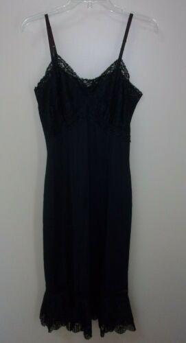 Vtg Van Raalte Opaquelon Full Slip Black Lace Wide Pleated Hem 36