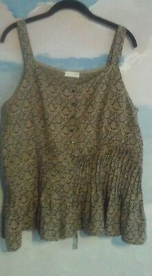 Fence Cami In 100% Linen In Tan/Black Tapstery OS (Black Picket Fence)