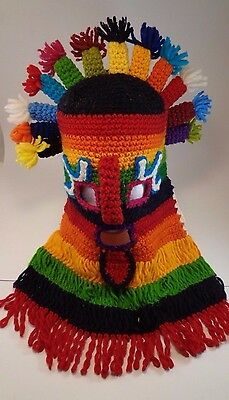 Handmade Knit Aztec Mask Primitive Costume Multi Color o