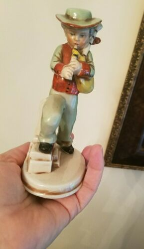 Gorgeous Vintage Boy Playing the Bagpipes German Germany Figurine Porcelain