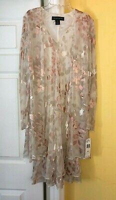 Ruffled Dress Coat - NWT Jones New York Dress Floral Shimmer Ruffled Dress Attached Coat SIZE 10 $162