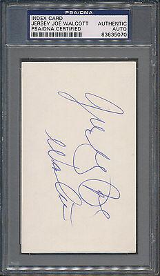 Jersey Joe Walcott Index Card PSA/DNA Certified Authentic Auto Autograph *5070