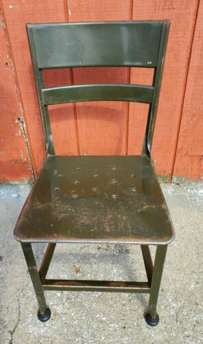 VINTAGE TOLDEO METAL CHAIR ORIGINAL UHL ANTIQUE INDUSTRIAL COLLECTIBLE