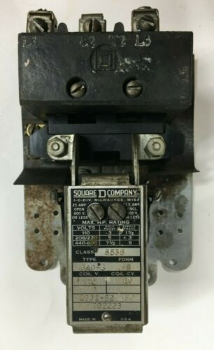 SQUARE D 8536 CA0-3 S Magnetic Contactor 600V 25A 110V Coil 3Ph 7.5HP 8536 CAO-3