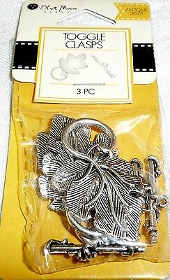 Blue Moon TOGGLE CLASPS Antique Silver Leaf 3 pc - BMF CLSP MTL TGL LEAF ANS ()