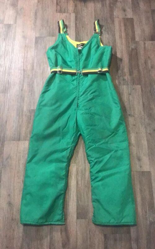 Vintage JOHN DEERE BEAUTIFUL BODYGUARDS Green Snow Suit Snowmobile Overall Pants