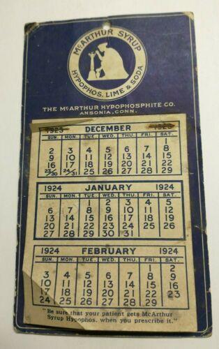 1924 Quack Medicine Calendar McArthur Syrup Hypophosphite Co. Ansonia, Conn