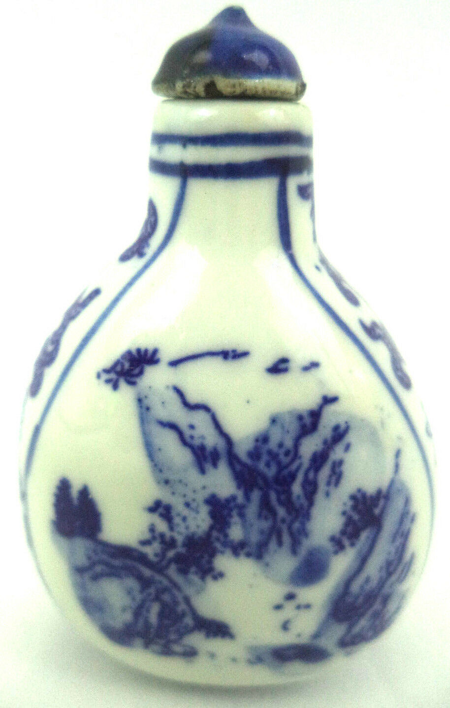 Vintage Chinese Porcelain Snuff Bottle Depicting Flowers/Mountains Signed
