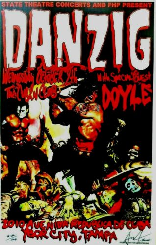 Danzig Gig Concert Poster Artist Signed and Numbered 10/25/2013 Rare