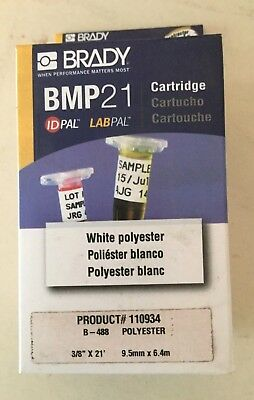 Brady Label Maker Cartridge - Bmp 21 -white Polyester - 38 X 21 - 110934