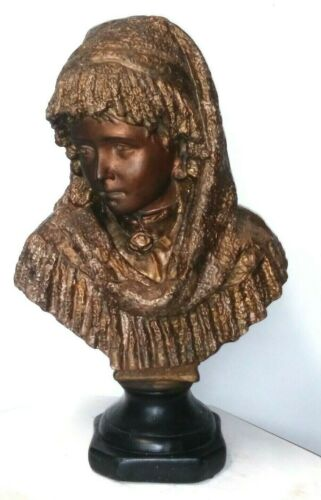 "Antique Lady bust head Sculpture statue woman Bronzed Plaster Large 20"" veiled"