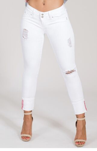 YMI  WannaBettaButt Distressed  2-Button Mega Cuffed Skinny Jean
