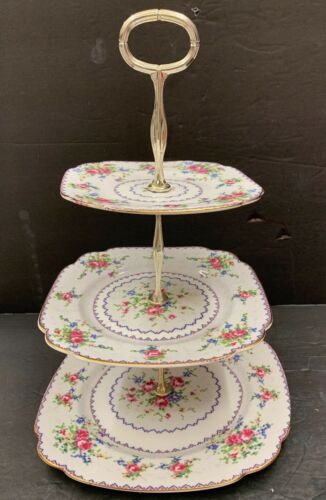 ROYAL ALBERT Petit Point 3 Tier Cake Stand Floral Bone China Rare Squared Floral