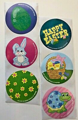 50 Happy Easter Stickers Party Favors Teacher Supply bunny basket turtle - Easter Party Favors