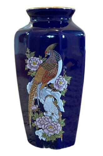 "Cobalt Blue Asian Vase Peacock Pheasant Purple Flowers 6"" Gold Rim Vintage Japan"