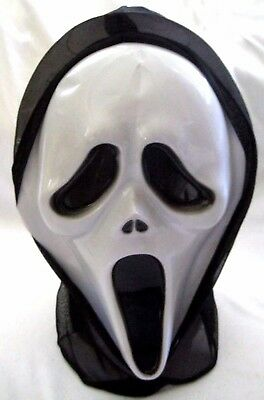White Full Face Scary Movie with Black Tongue mask for costume halloween-New!