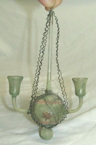 German Antique Glass Wire Wrapped Dresden Chandelier Christmas Ornament 1900