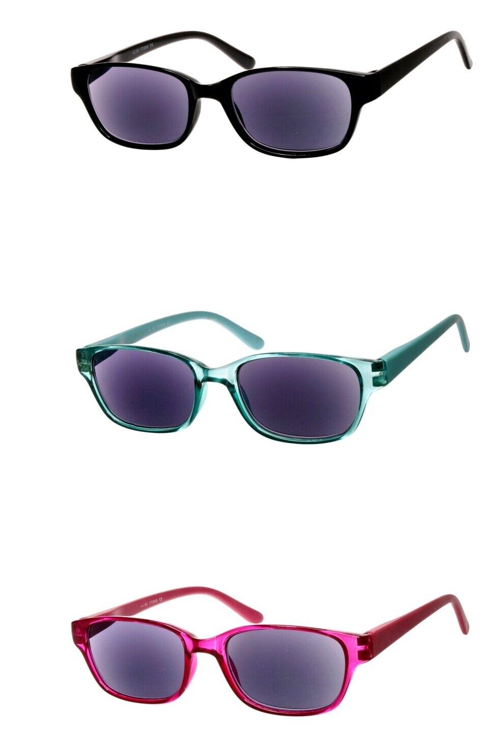 Lesebrille als Sonnenbrille mit Dioptrien blau getönte Gläser Rot Grün Schwarz