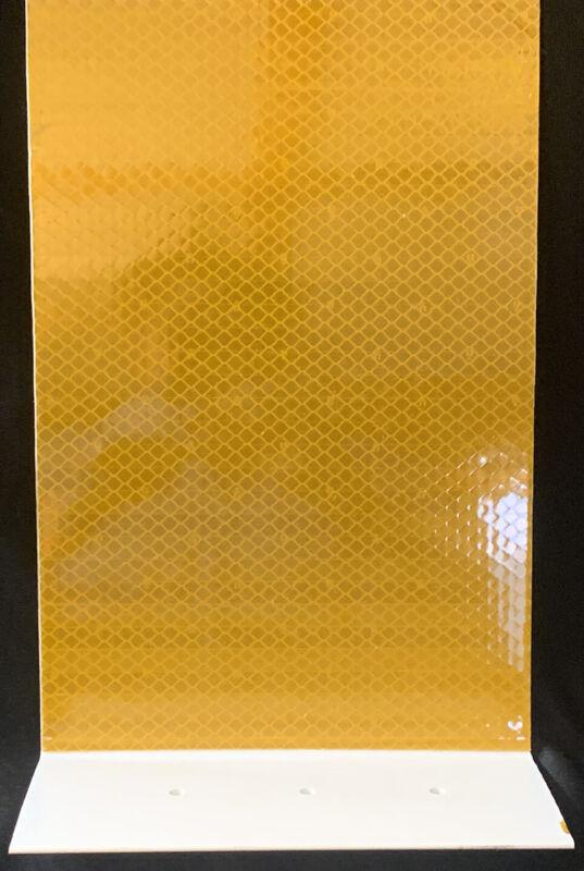 "(10) Pexco PCBM Big Dog LARGE YELLOW Concrete Barrier Mount Reflector 12"" x 8"""