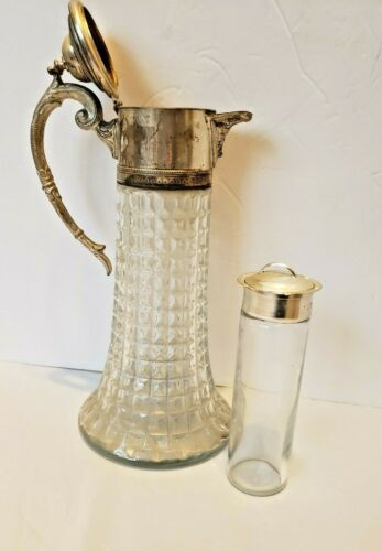 Large Vintage Crystal Glass Water Carafe Pitcher with Insert Italy Silverplate