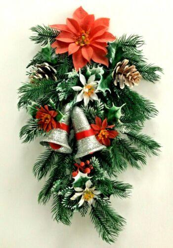 Vtg Door Hanging Christmas Glitter Bells Plastic Pine Floral Flocked Poinsettia