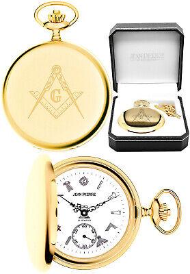 Jean Pierre Masonic Hunter 17 Jewel Pocket Watch Gold Plated Free Engraving G128