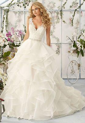 Vintage Organza Hochzeitskleid Sheer Tüll A-Linie Brautkleid Ballkleid 32 34 36+ ()