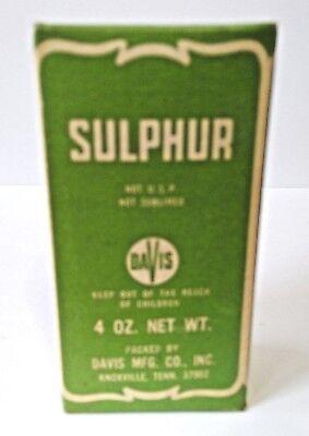 Vintage DAVIS SULPHUR BOX - Never Opened - 4 oz. - Damage on Box
