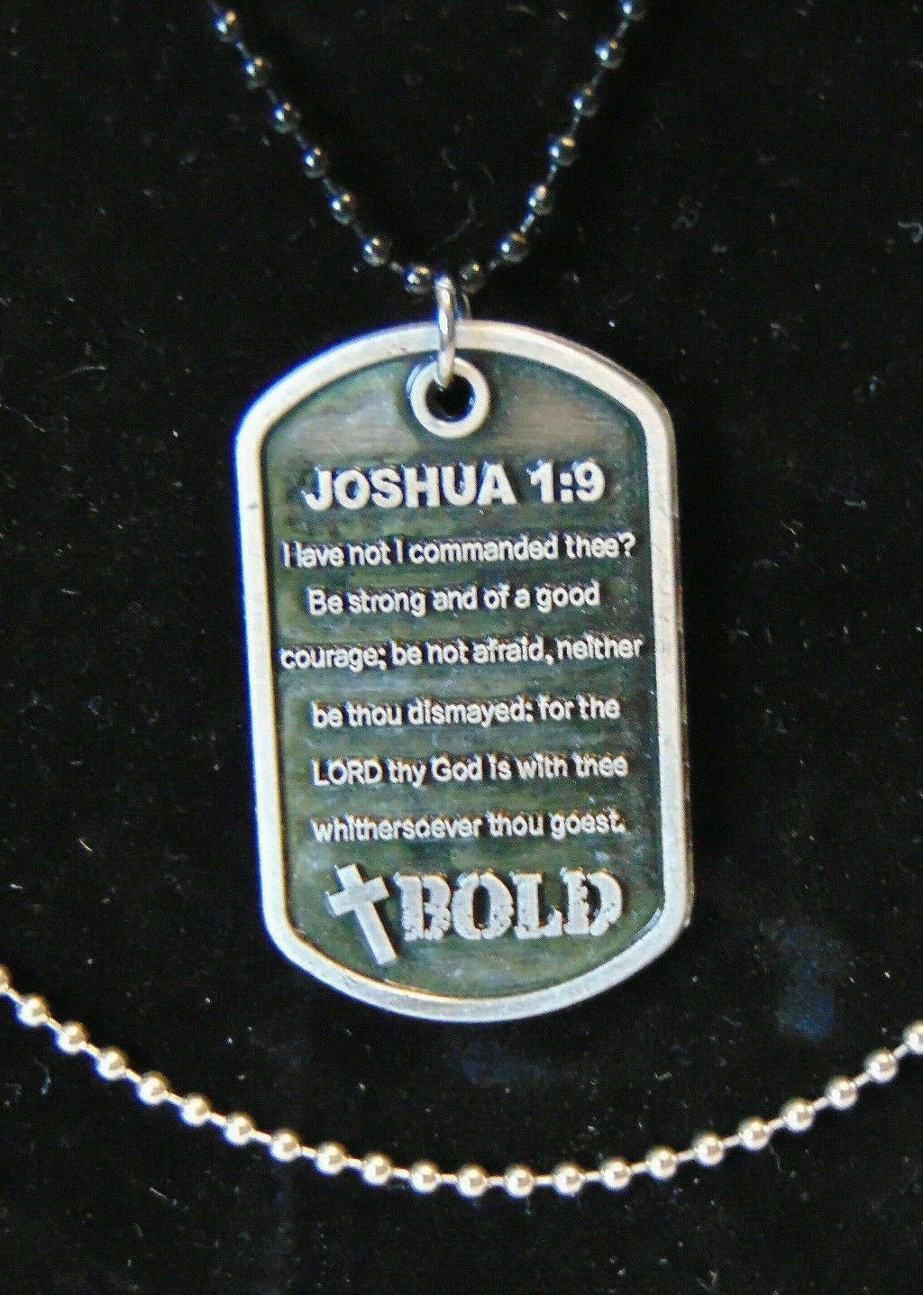 BOLD Christian Dog Tag Necklace BE STRONG Bible Scripture Ve