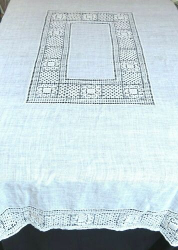 Vintage Filet Drawnwork Lace Tablecloth 64 x 84 Rectangle White Cotton