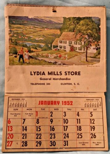 1953 Lydia Mills Store Advertising Calendar Clinton South Carolina