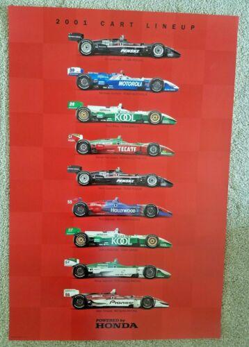 Vintage Poster 2001 Cart Indy Car Lineup Honda Penske Zanardi Andretti Tracy