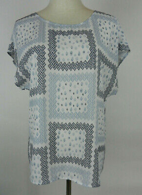 Ann Taylor Outlet S Womens Blouse Blue White Sleeveless Geometric Square Designs