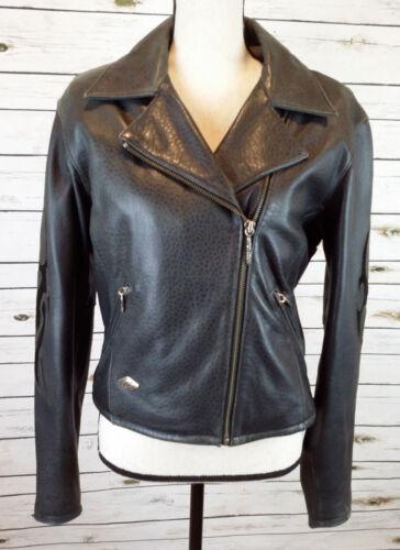 Harley-Davidson VINTAGE Womens Sz M Black Heavy Leather Motorcycle Jacket Coat