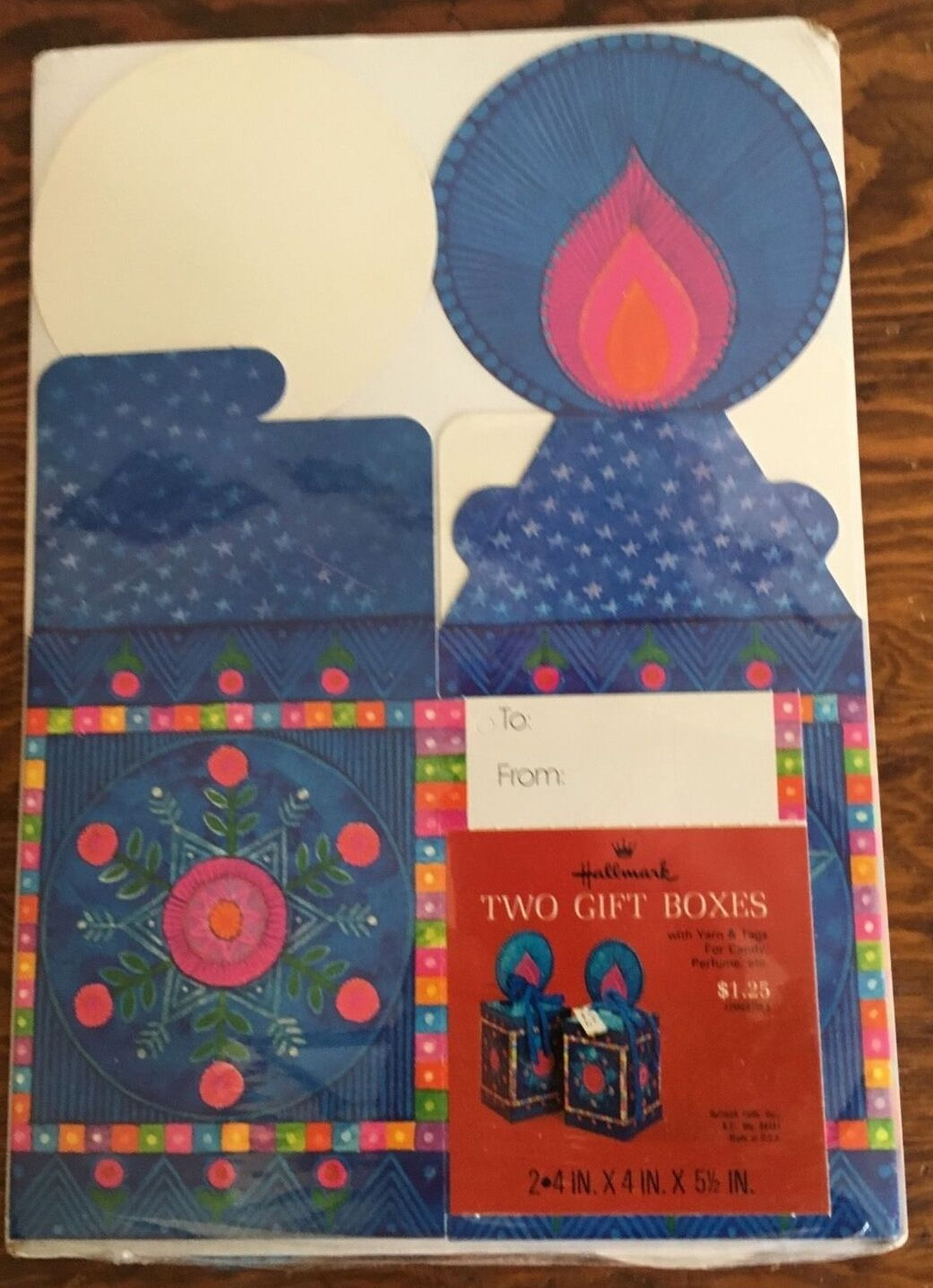 Sealed Vintage Hallmark Gift Boxes Yarn Blue Candle Wrap Wrapping 60s 70s Xmas