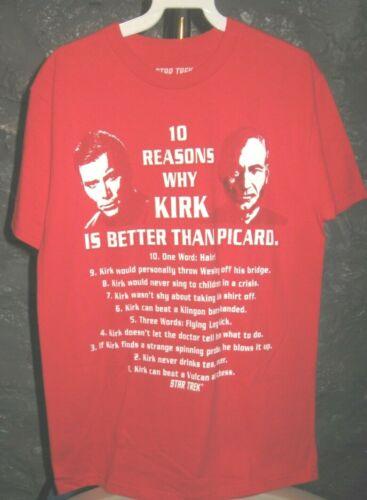Kirk & Picard Star Trek Red 10 Reasons Kirk Better than Picard Medium T-Shirt