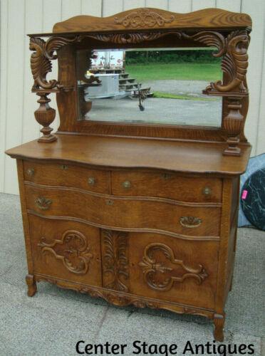 61221 Antique Victorian Oak  Sideboard Buffet w/ Mirror