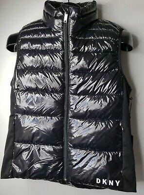 DKNY Women's Jacket Black Small, Medium, Large Button Zip Down Puffer Vest $79