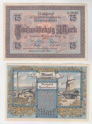 75 Mark Banknote Notgeld der Handelskammer des Memelgebiets 1922 (115345)