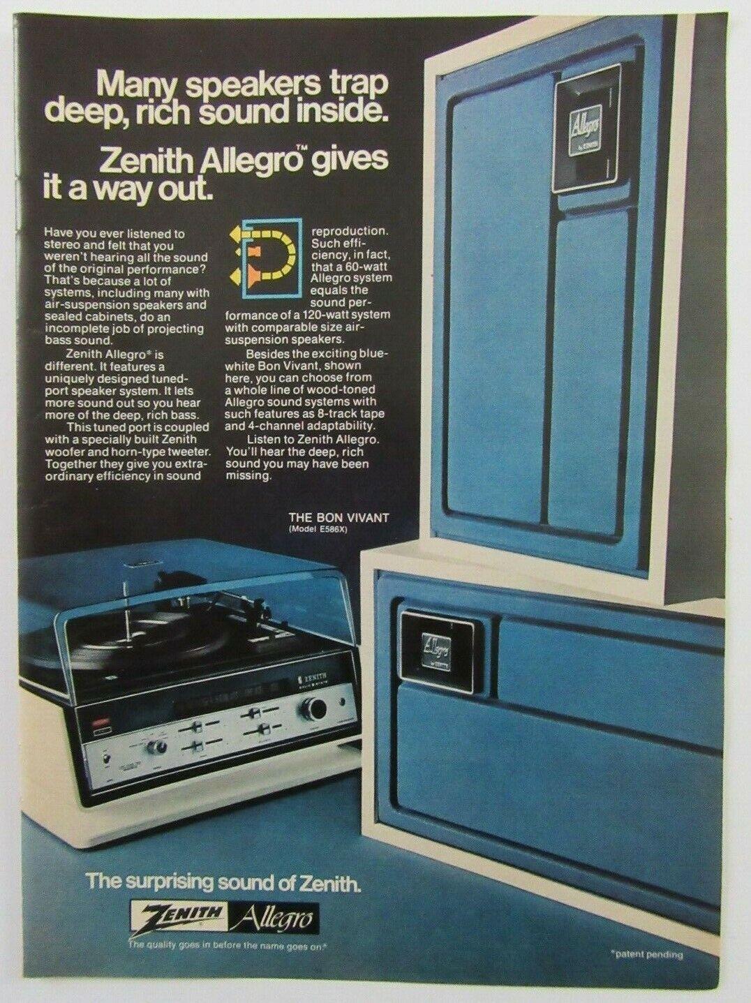 1973 ZENITH Allegro The Bon Vivant Stereo System Magazine Print Ad