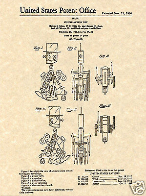 IDEAL Mr Machine Robot PATENT Art Print READY TO FRAME!!!!! Original wind up toy