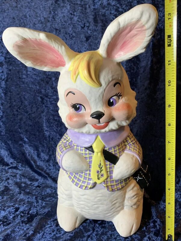 "Vintage 1970s Ceramic 13.5"" EASTER Bunny Rabbit  Decoration 70s Hand Painted Big"